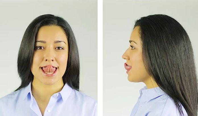 Primul exercitiu. Scoate limba si atinge nasul