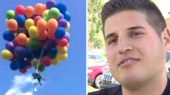 Barbatul asta si-a legat 100 de baloane cu heliu de scaun, ca in filmul 'UP'! Ce a putut sa pateasca dupa aceea