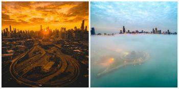 Chicago, vazut de la inaltime! Un roman ne aduce cinste cu aceste imagini pe care le face! Au devenit virale