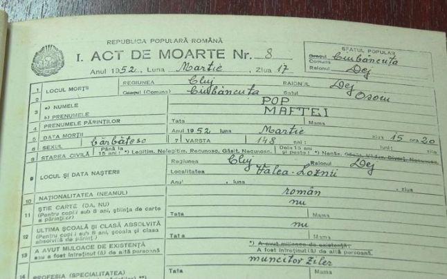 Actul de deces al lui Maftei Pop, unul dintre documentele care îi atestă vârsta FOTO: citynews.ro