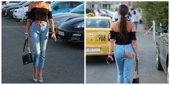 'Diva' de la noi care a mers pe strada cu pantalonii rupti pe fund! Cum s-a afisat intr-o zona plina de fite din Constanta