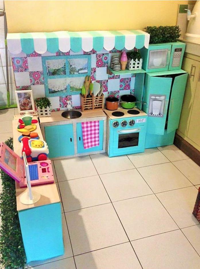 bucatarie din carton pentru copii fetite