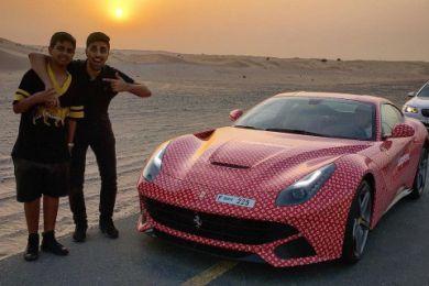 Minorul plin de bani care a primit un Ferrari cu print Louis Vuitton! Cine e tatal lui de isi permite asa aroganta VIDEO