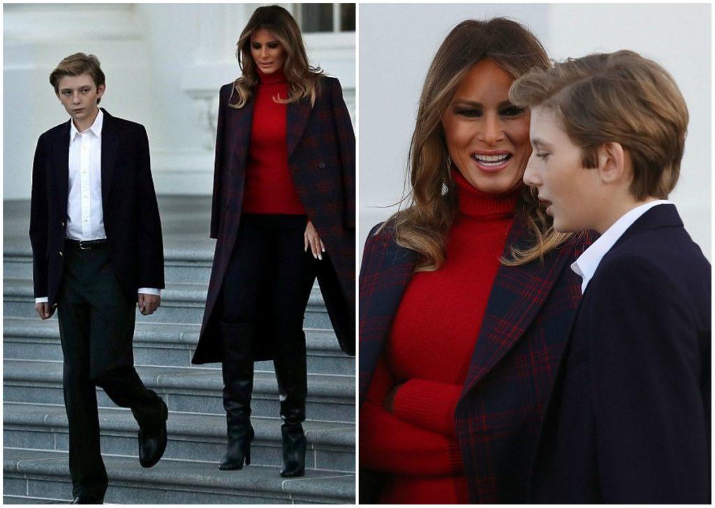 Prima doamna a Americii Melania Trump si fiul ei Barron au dat startul sarbatorilor de iarna! Au primit bradul de Craciun la Casa Alba