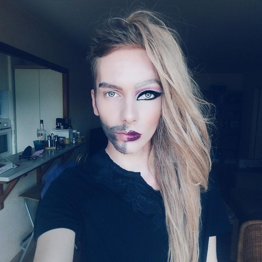 baiat transformat in femeie prin make up 2