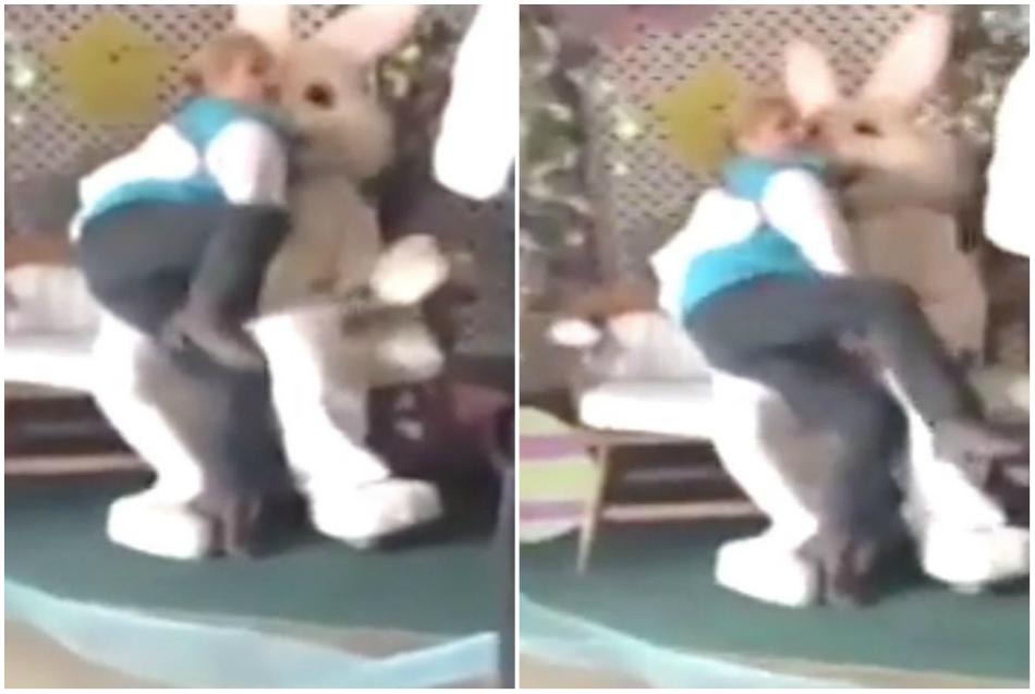 Femeia s-a apropiat de un iepure de Paste si a inceput sa faca gesturi interzise