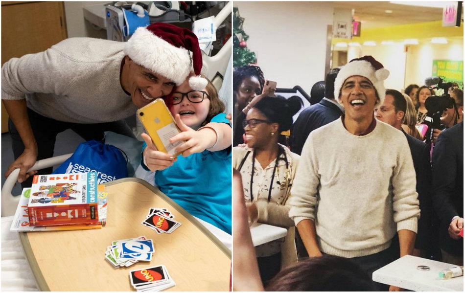 Barack Obama s-a transformat in Mos Craciun