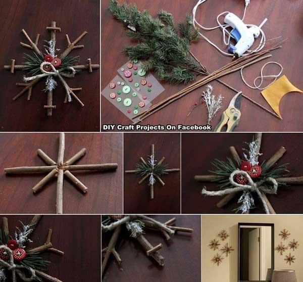 Decoratiune handmade de Craciun - fulgi de zapada rustici