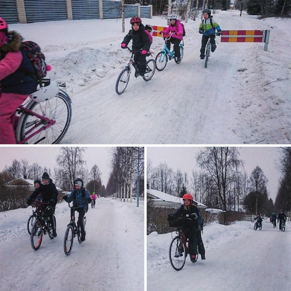 Copiii din Finlanda merg la scoala la -17 grade Celsius
