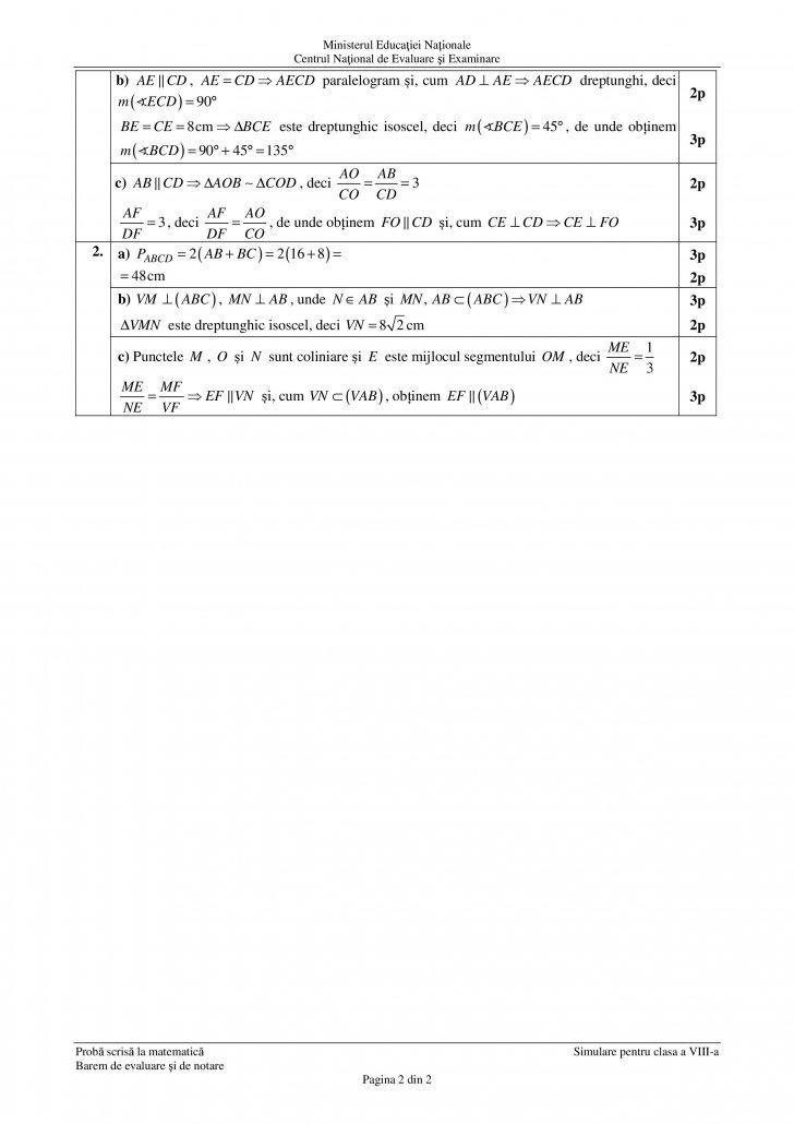 Barem notareSimulare Evaluare Nationala 2019 - subiecte matematica clasa a VIII-a