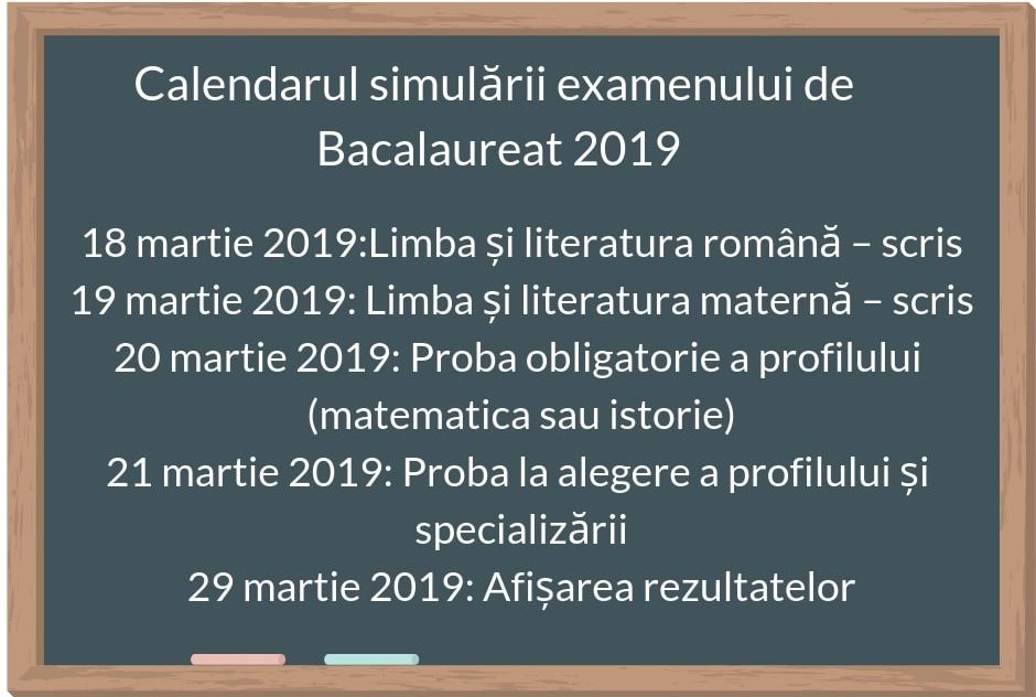 Simulare BAC 2019. Calendarul examenelor sustinute de elevii din clasele XI-XII