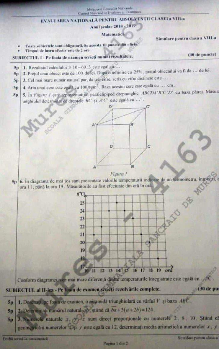 Simulare Evaluare Nationala 2019 - subiecte matematica clasa a VIII-a