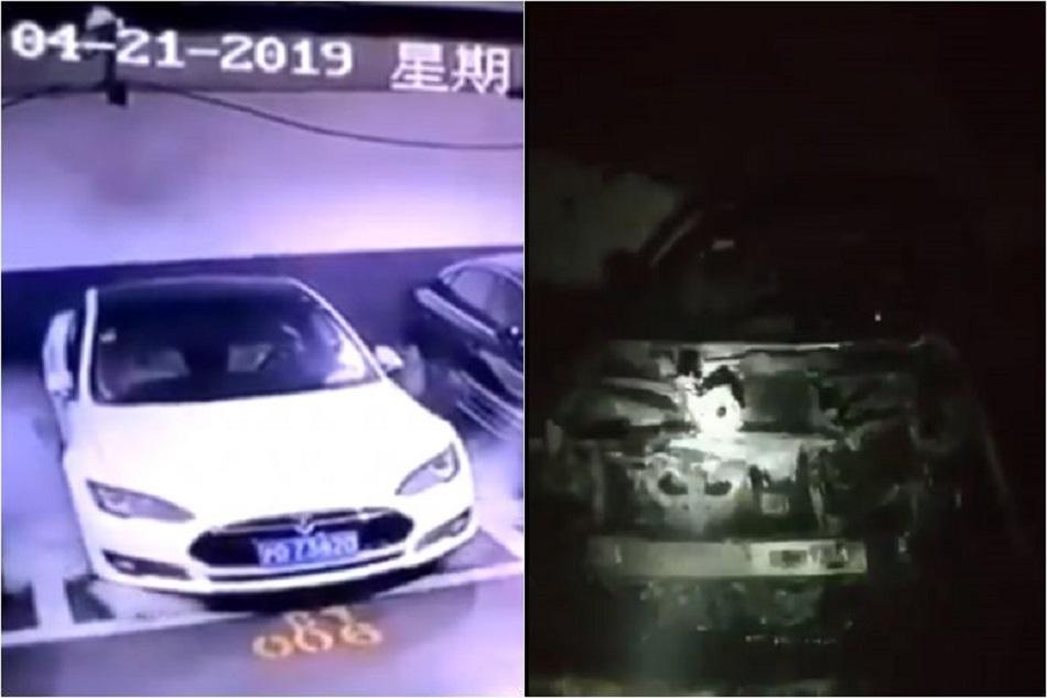 O masina Tesla a explodat din senin