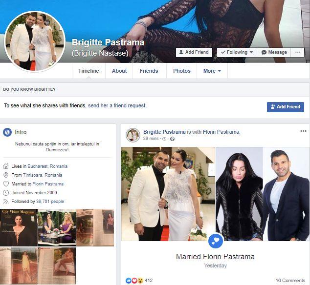 Ce a aparut pe pagina de Facebook a lui Brigitte Sfat, dupa cununia cu Pastrama! Ilie Nastase va innebuni