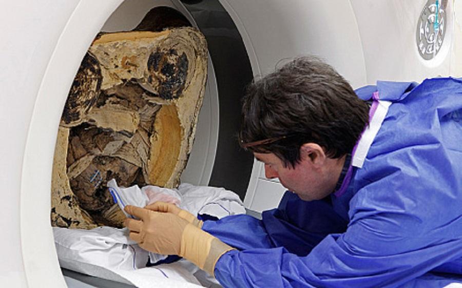 Schelet vechi de 900 de ani, gasit intr-o statuie