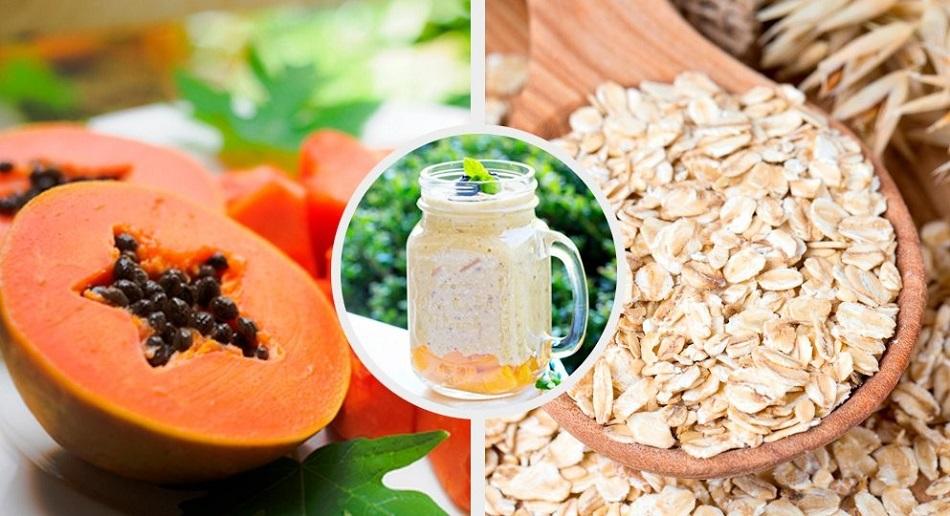 Smoothie pentru digestie cu ovaz si papaya