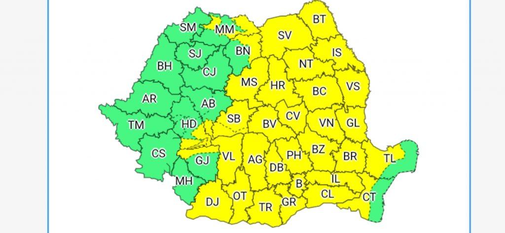 Vine urgia în România! Cod galben de ploi puternice în 33 de județe ale țării